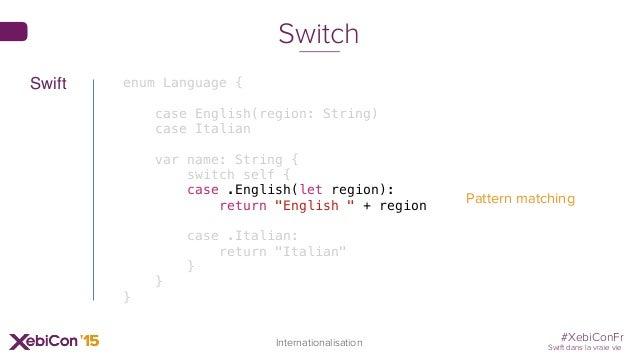 #XebiConFr Swift dans la vraie vie 74 Internationalisation Switch enum Language { case English(region: String) case Italia...