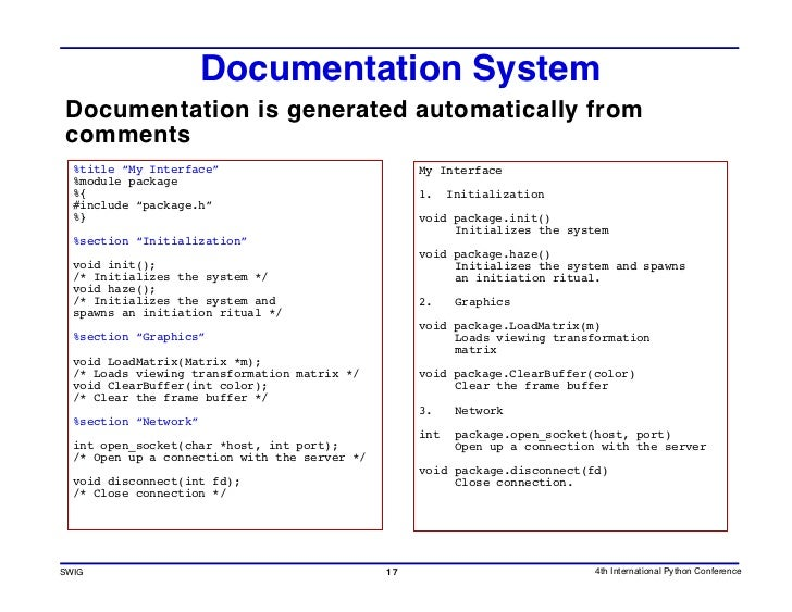 """Documentation System Documentation is generated automatically from comments   %title """"My Interface""""                       ..."""