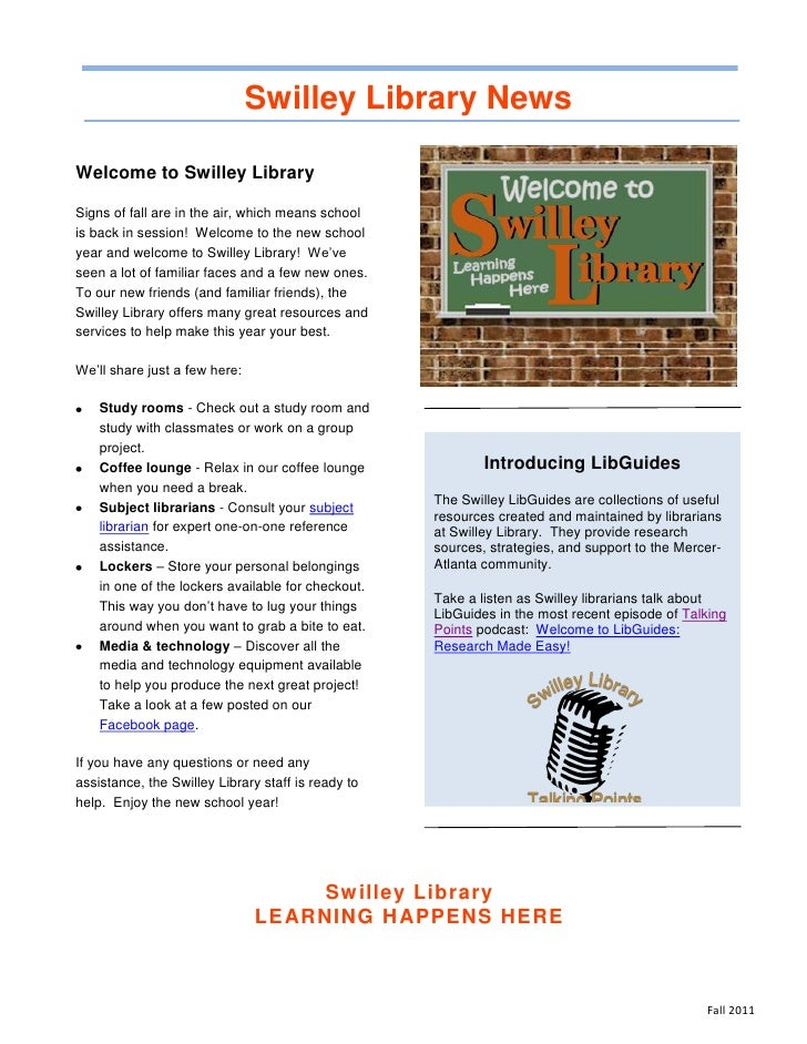 Swilley Library NewsWelcome to Swilley LibrarySigns of fall are in the air, which means schoolis back in session! Welcome ...