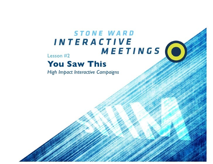 Lesson #2 You Saw This High Impact Interactive Campaigns