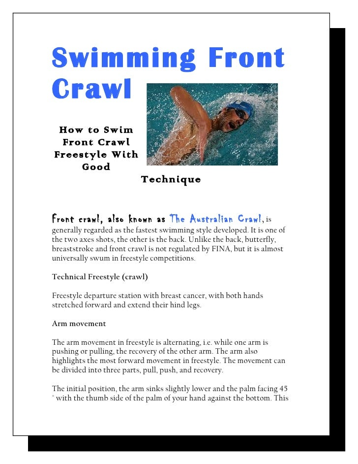 Swimming FrontCrawl How to Swim Front CrawlFreestyle With     Good                           TechniqueFront crawl, also kn...
