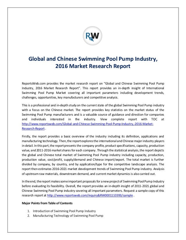Swimming pool pump industry global and china market - Swimming pool industry statistics ...