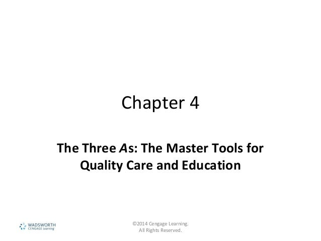 Chapter 4 The Three As: The Master Tools for Quality Care and Education ©2014 Cengage Learning. All Rights Reserved.