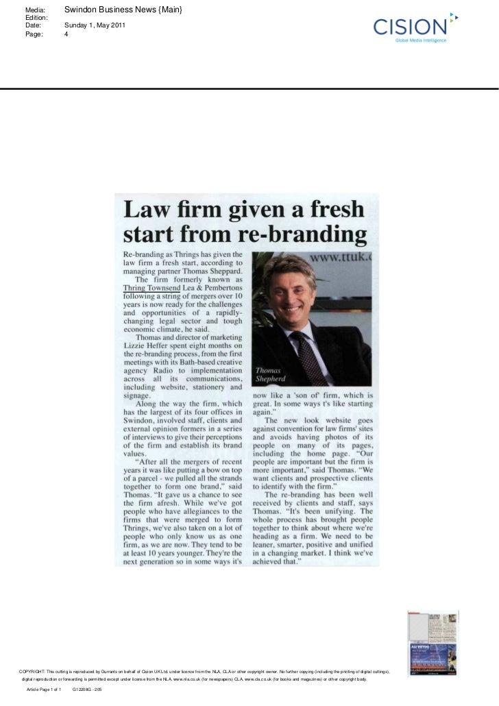 Media:                 Swindon Business News {Main}   Edition:   Date:                  Sunday 1, May 2011   Page:        ...