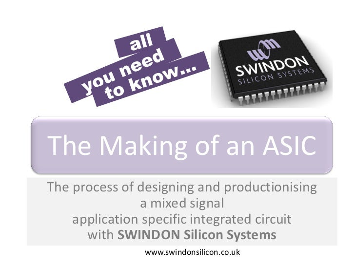The Making of an ASICThe process of designing and productionising               a mixed signal    application specific int...