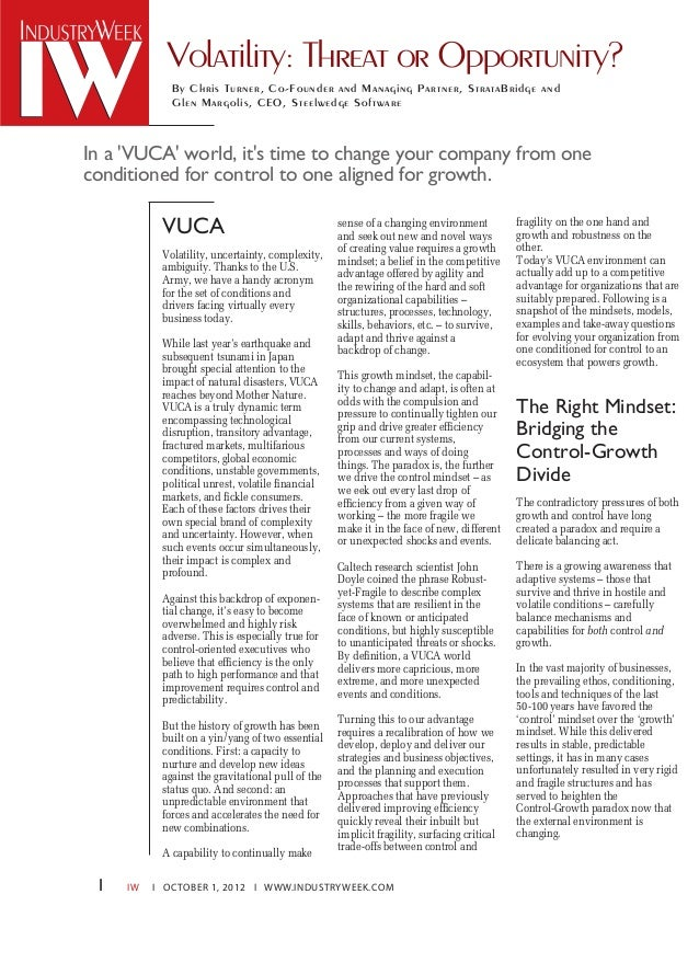 IW I OCTOBER 1, 2012 I WWW.INDUSTRYWEEK.COM VUCA The Right Mindset: Bridging the Control-Growth Divide Volatility: Threat ...