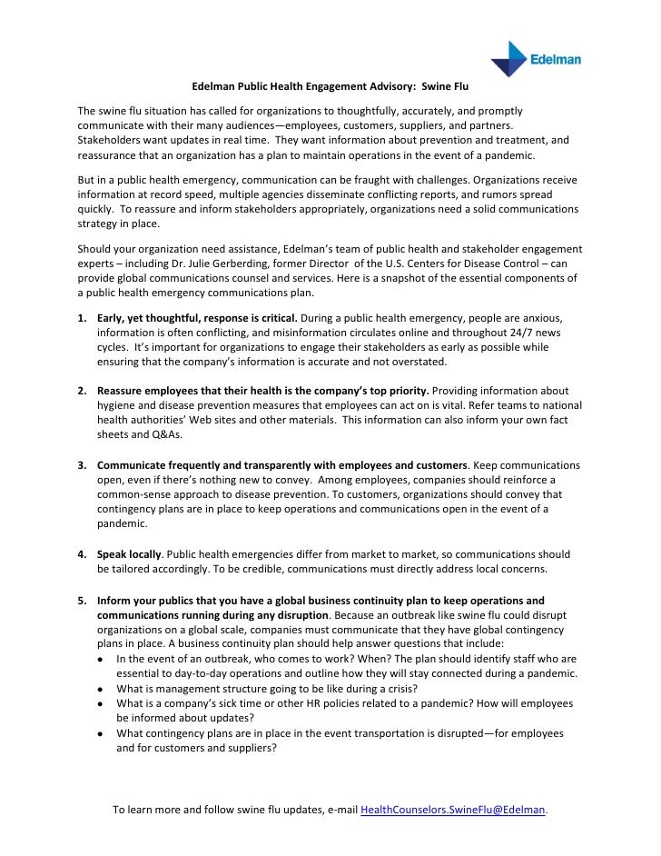 Edelman Public Health Engagement Advisory: Swine Flu  The swine flu situation has called for organizations to thoughtfully...