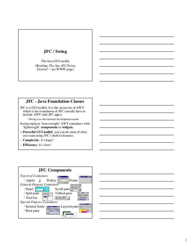 1 JFC / Swing The Java GUI toolkit (Reading: The Sun JFC/Swing Tutorial -- see WWW page) JFC - Java Foundation Classes JFC...