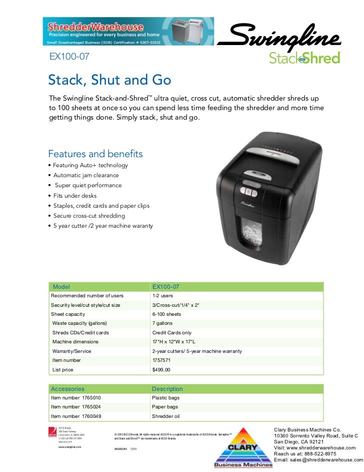 EX100-07Stack, Shut and GoThe Swingline Stack-and-Shred™ ultra quiet, cross cut, automatic shredder shreds upto 100 sheets...