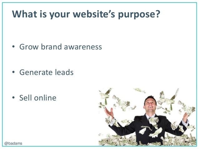 POLEMIC D I G I T A L@badams What is your website's purpose? • Grow brand awareness • Generate leads • Sell online