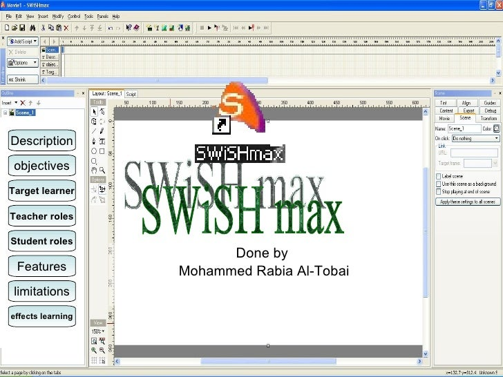 Done by  Mohammed Rabia Al-Tobai SWiSH max Description objectives Target learner Teacher roles Student roles Features limi...