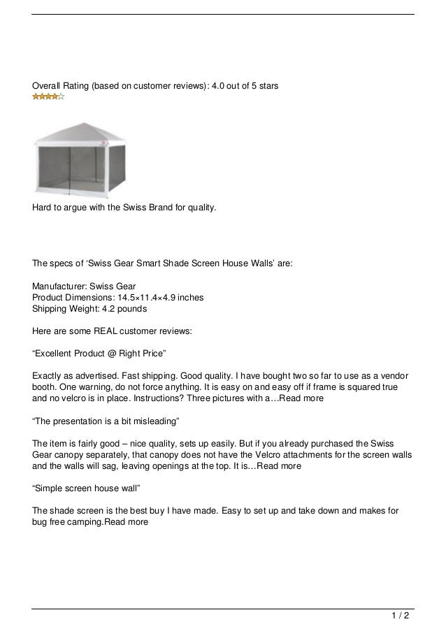 Overall Rating (based on customer reviews) 4.0 out of 5 starsHard to argue Get Swiss Gear Smart Shade Screen ...  sc 1 st  SlideShare & Swiss Gear Smart Shade Screen House Walls Review