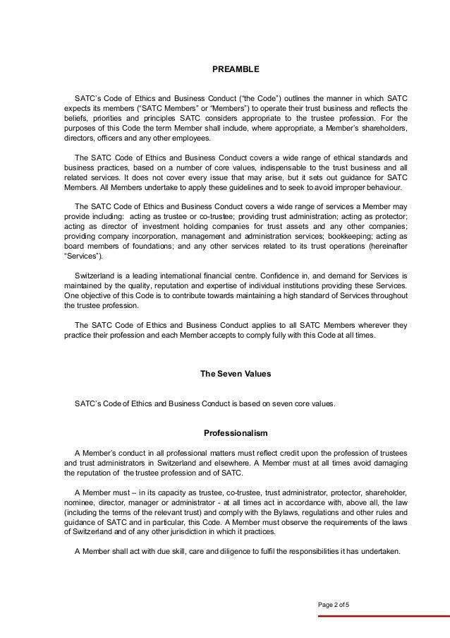 Swiss Association of Trust Companies > Code of Ethics