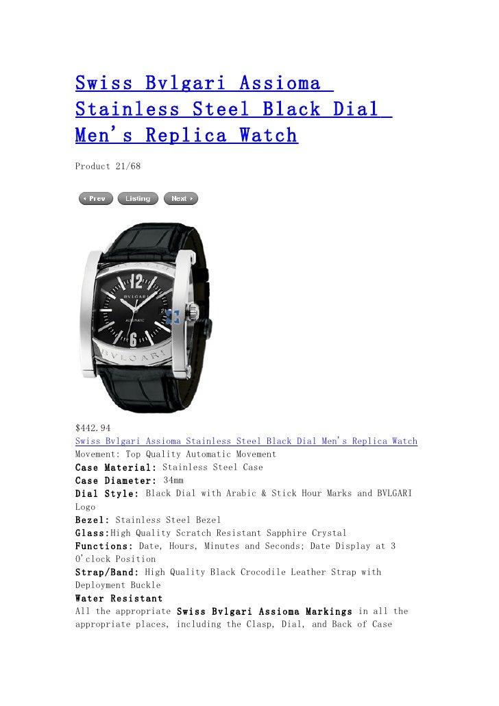 Swiss bvlgari assioma stainless steel black dial men's replica watch