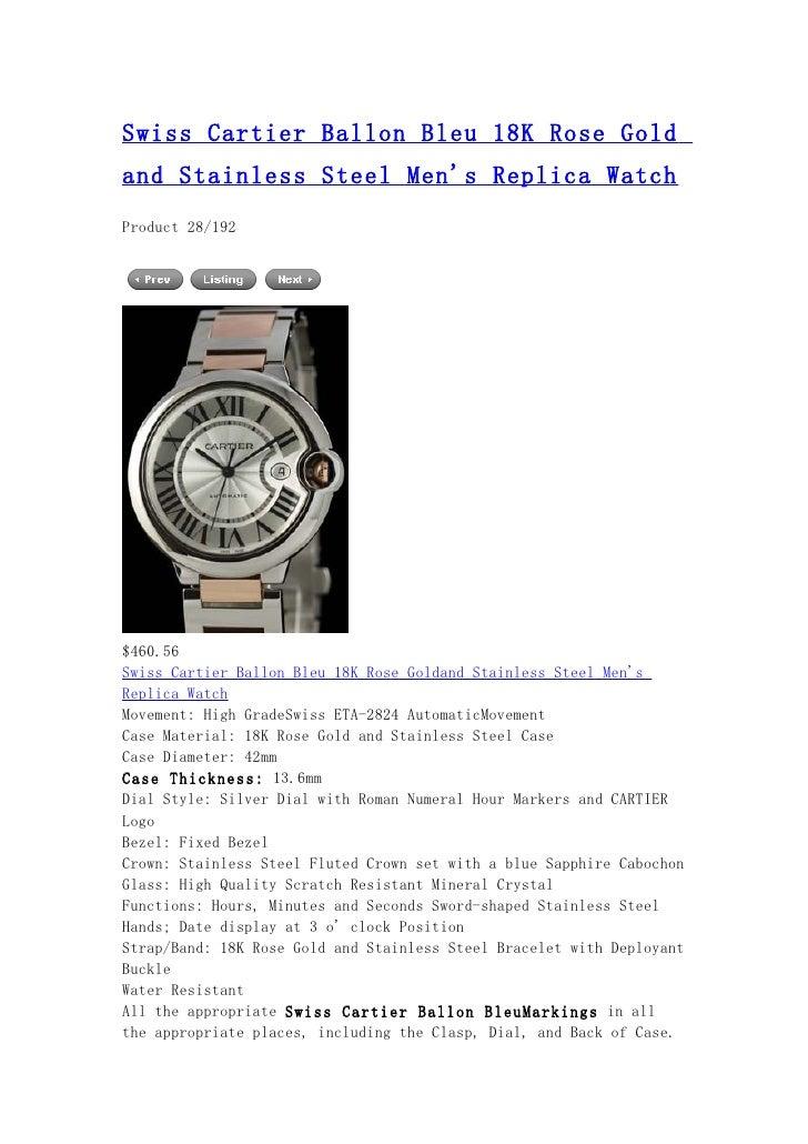 Swiss cartier ballon bleu 18 k rose gold and stainless steel men's replica watch 2