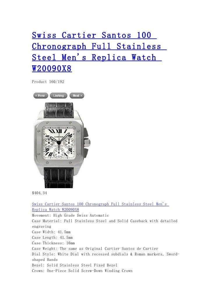Swiss cartier santos 100 chronograph full stainless steel men's replica watch w20090 x8