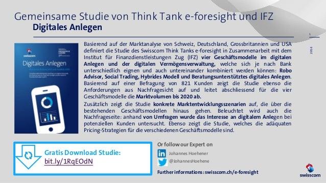 Gemeinsame Studie von Think Tank e-foresight und IFZ Digitales Anlegen Basierend auf der Marktanalyse von Schweiz, Deutsch...