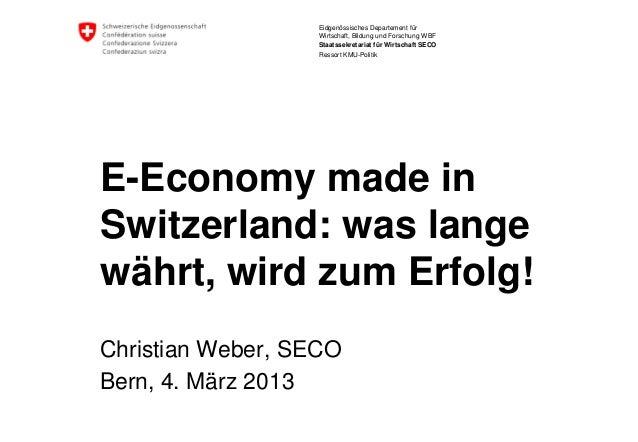 Eidgenössisches Departement für                   Wirtschaft, Bildung und Forschung WBF                   Staatssekretaria...