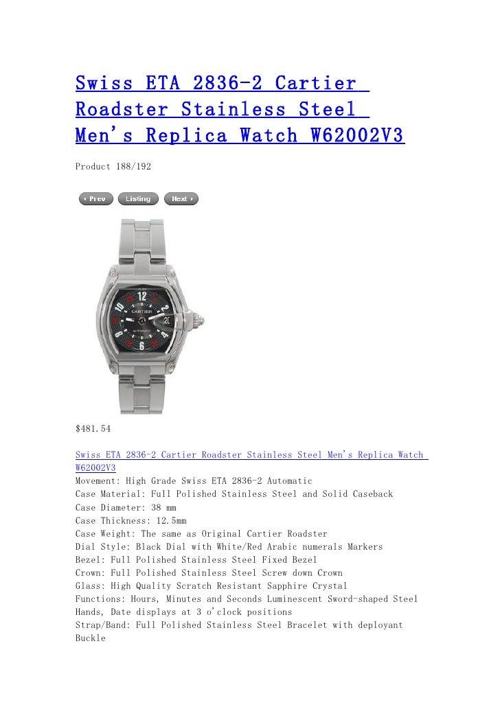 Swiss eta 2836 2 cartier roadster stainless steel men's replica watch w62002 v3