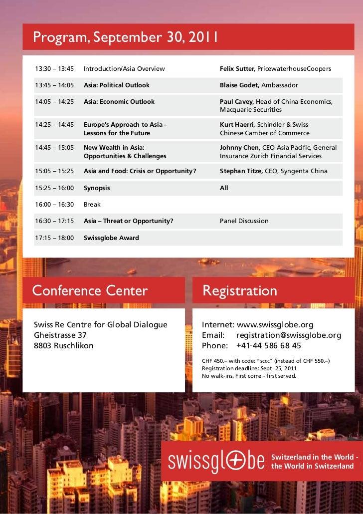 Program, October 1, 30, 2011Program, September 201013:30 -– 13:4513:30 14:00      Swissglobe Award Overview               ...
