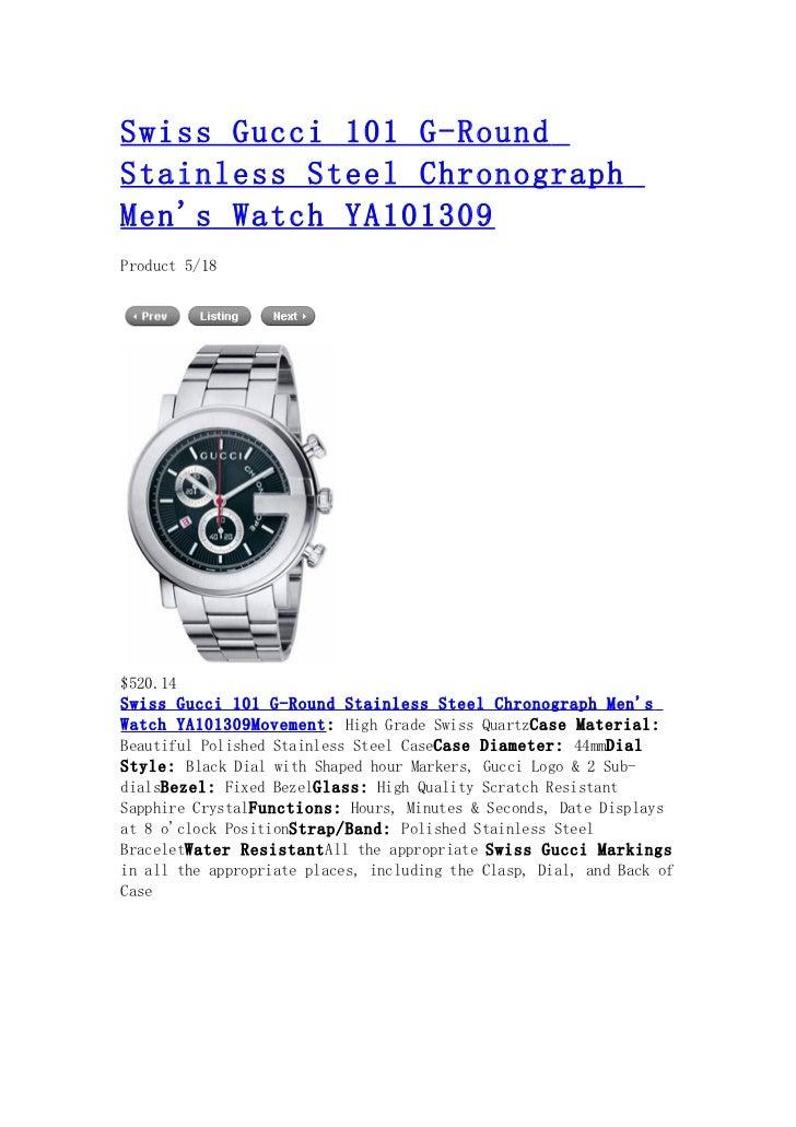 bd080f88375 Swiss gucci 101 g round stainless steel chronograph men s watch ya101309