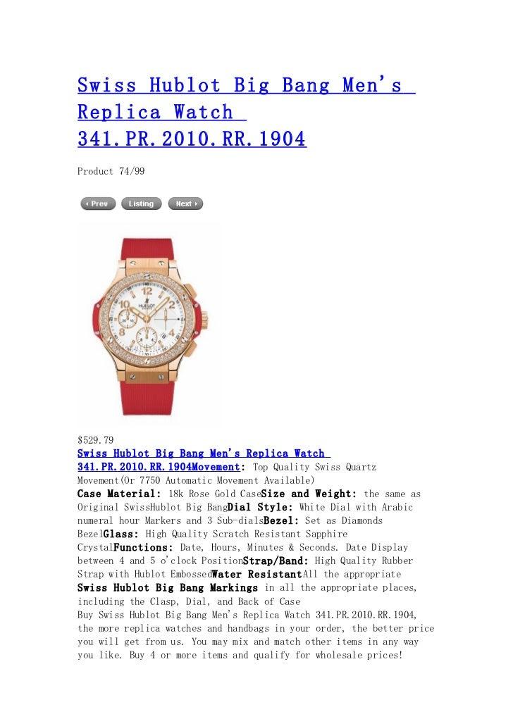 Swiss hublot big bang men's replica watch 341.pr.2010.rr.1904
