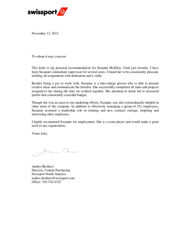 Swissport recommendation letter november 12 2012to whom it may concernthis letter is my personal recommendation for thecheapjerseys Images