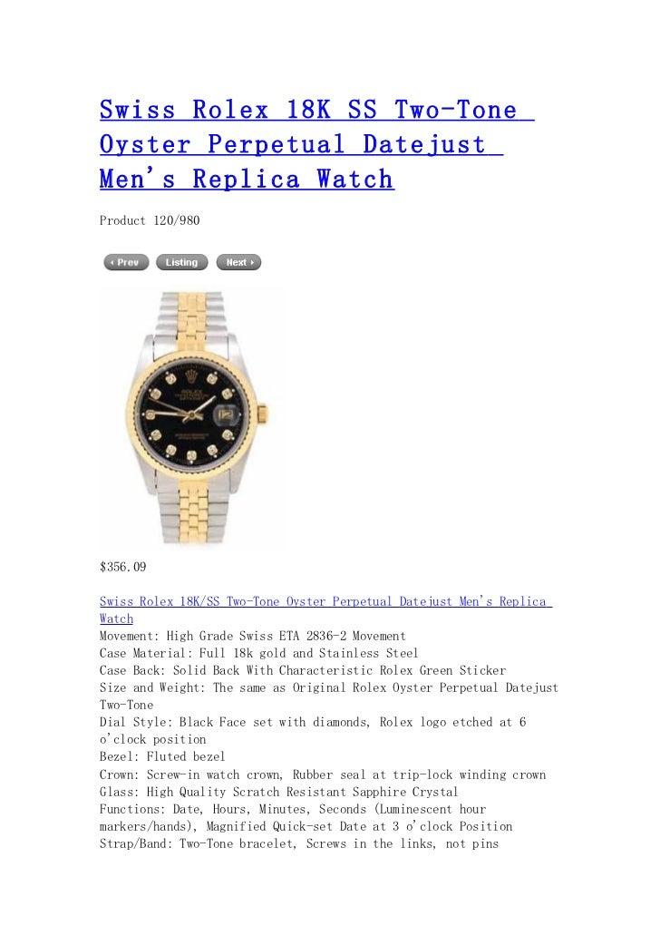 Swiss rolex 18 k ss two tone oyster perpetual datejust men's replica watch