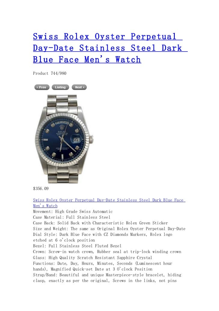 Swiss rolex oyster perpetual day date stainless steel dark blue face men's watch
