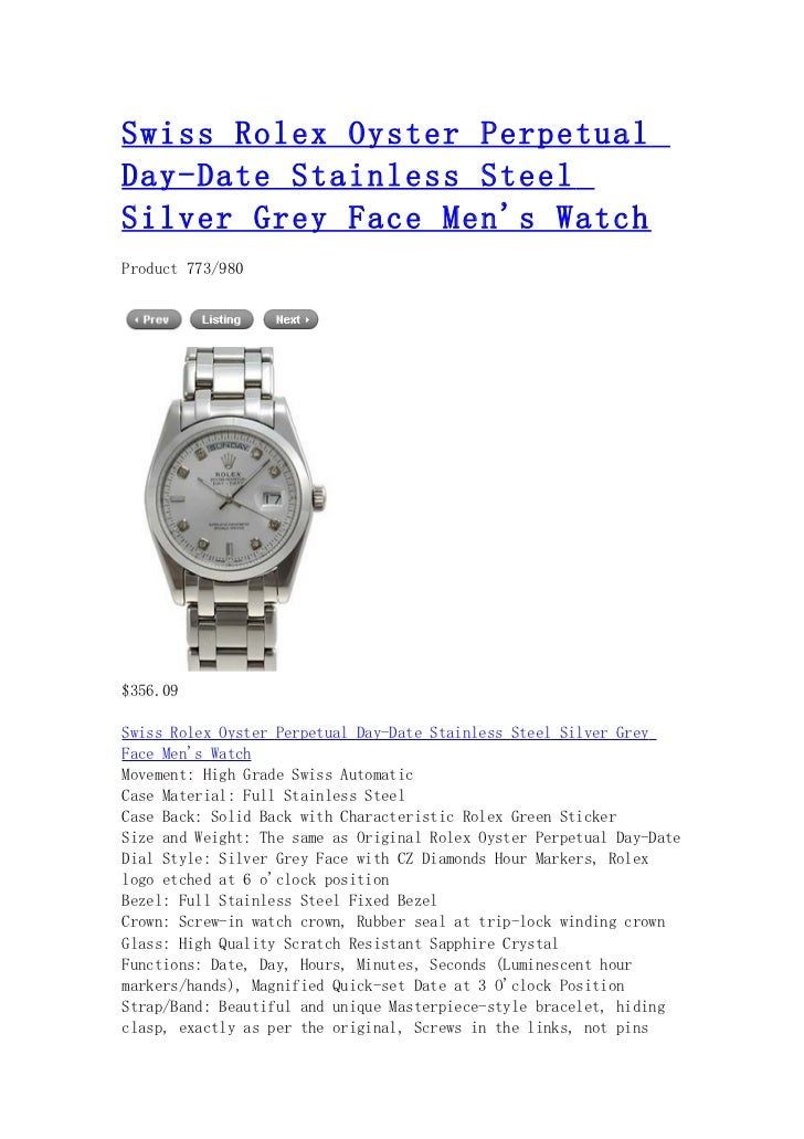 Swiss rolex oyster perpetual day date stainless steel silver grey face men's watch