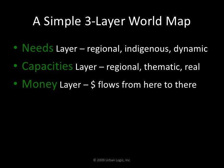 A Simple 3-Layer World Map <br />Needs Layer – regional, indigenous, dynamic<br />Capacities Layer – regional, thematic, r...