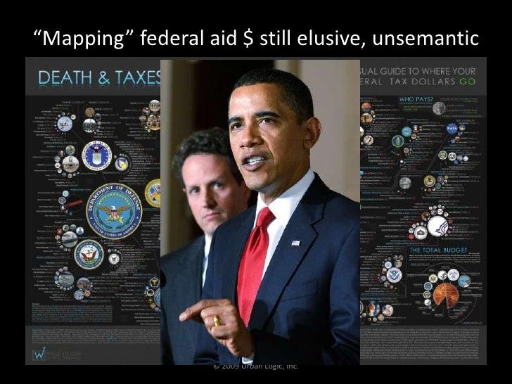 """""""Mapping"""" federal aid $ still elusive, unsemantic<br />© 2009 Urban Logic, Inc.<br />"""