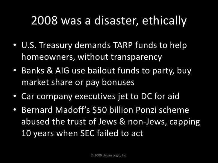 2008 was a disaster, ethically<br />U.S. Treasury demands TARP funds to help homeowners, without transparency<br />Banks &...