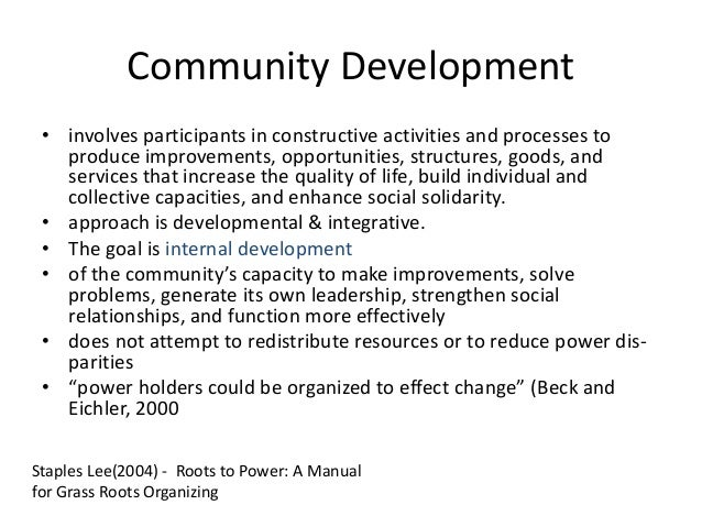 introduction to community development Introduction to community development - resources module 01 - community development strategies no table of contents entries found does your community.