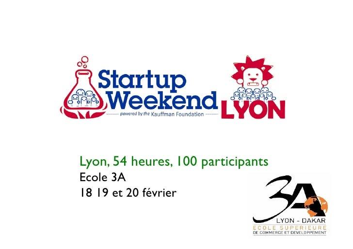 Lyon, 54 heures, 100 participantsEcole 3A18 19 et 20 février