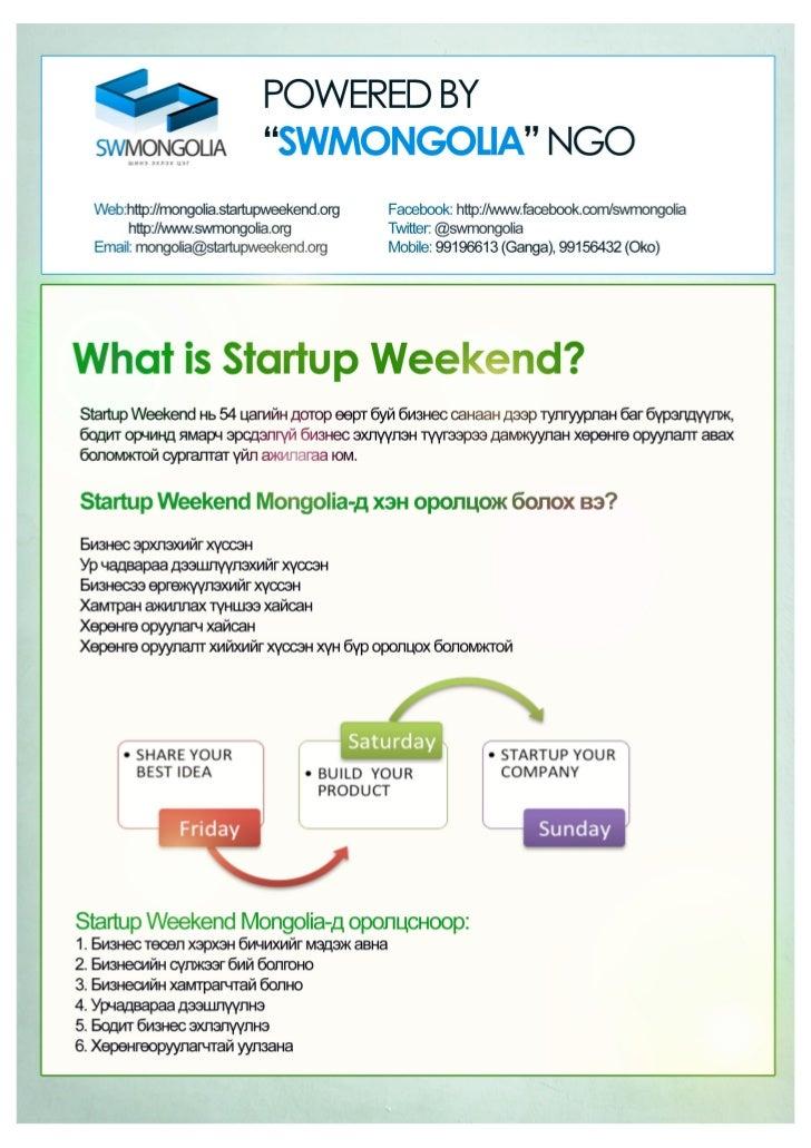 Startup Weekend Mongolia 4