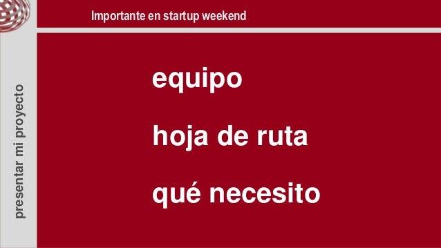 presentarmiproyecto equipo hoja de ruta qué necesito Importante en startup weekend