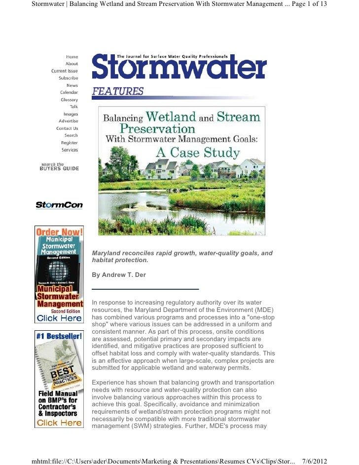 Stormwater | Balancing Wetland and Stream Preservation With Stormwater Management ... Page 1 of 13                    Mary...
