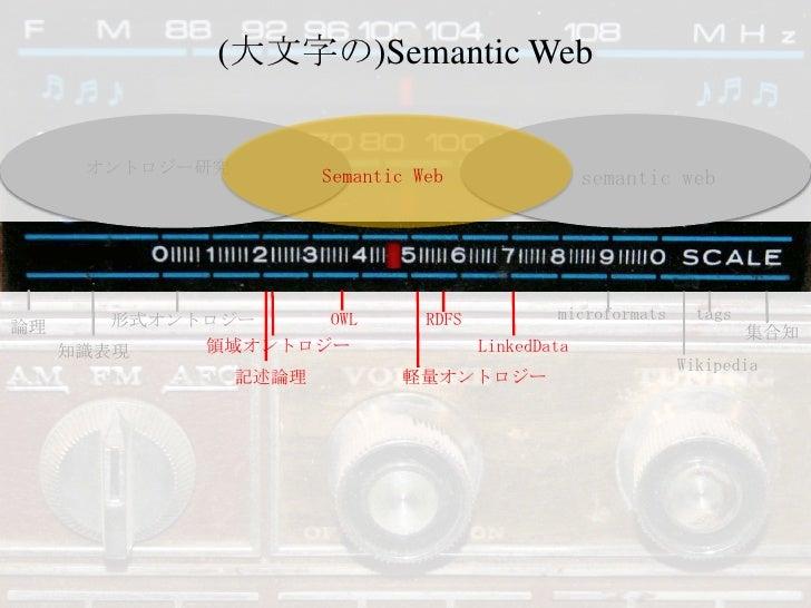 (大文字の)Semantic Web<br />オントロジー研究<br />semantic web<br />Semantic Web<br />microformats<br />tags<br />OWL<br />RDFS<br />形...