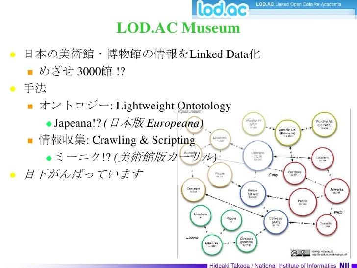 LOD.AC Museum<br />日本の美術館・博物館の情報をLinked Data化<br />めざせ 3000館 !?<br />手法<br />オントロジー: Lightweight Ontotology<br />Japeana!?...