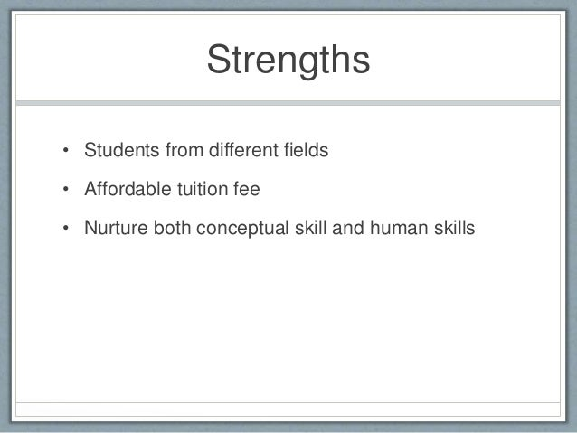 mba student swot The powerful swot analysis framework in a nutshell - definition, framework introduction, example of starbucks, sample template / tool and more.