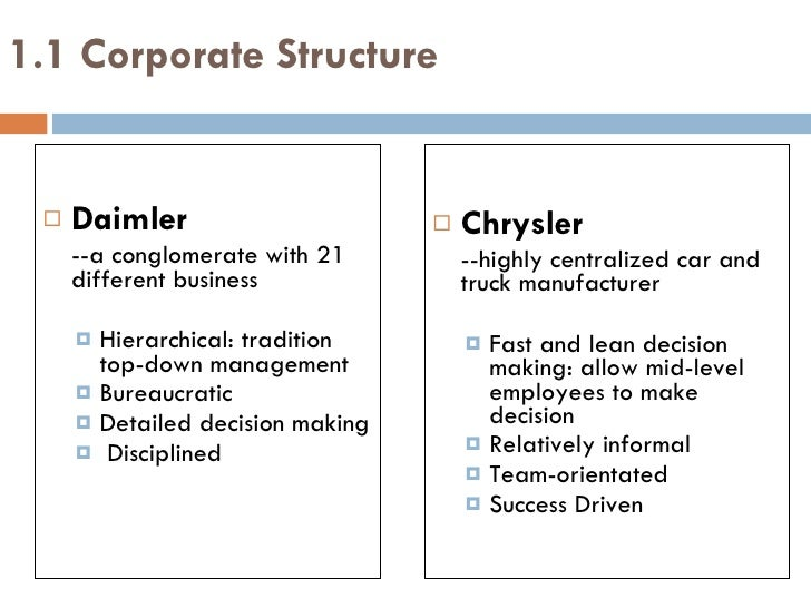 daimlerchrysler merger essay Daimler chrysler julie i gonzalez daimlerchrysler ag: a decade of global strategic challenges leads to divorce in 2007 the daimlerchrysler merger of 1998 was accepted with anticipation of greatness by analysts, stockholders, and the auto industry.