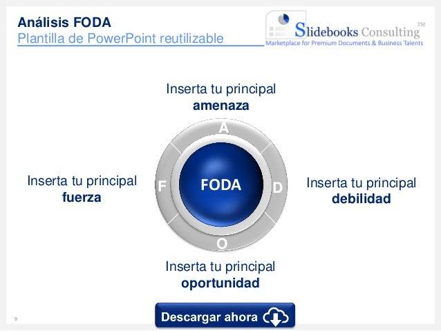 10 www.slidebooks.com10 Herramienta FODA Plantilla 2/7 • Inserta tu propio texto Fortalezas • Inserta tu propio texto Debi...