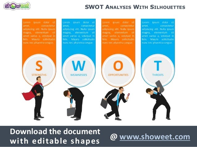 swot analysis with silhouettes for powerpoint