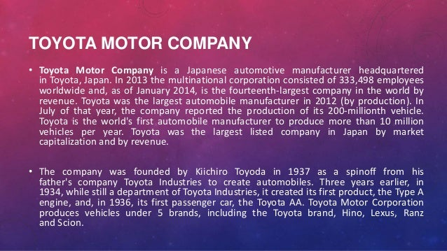 Founder of toyota motor corporation for Toyota motor company profile