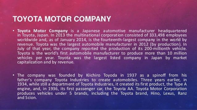Founder of toyota motor corporation for Toyota motor corporation address