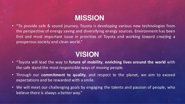 Mission Statement Of Toyota Motor Corporation Impremedia Net