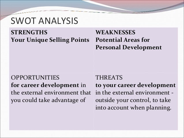 a personal development plan and personal analysis Credit: chrupka/shutterstock a strength, weakness, opportunity and threat (swot) analysis is a common tool in the professional world to evaluate the past, present and future position of a company.
