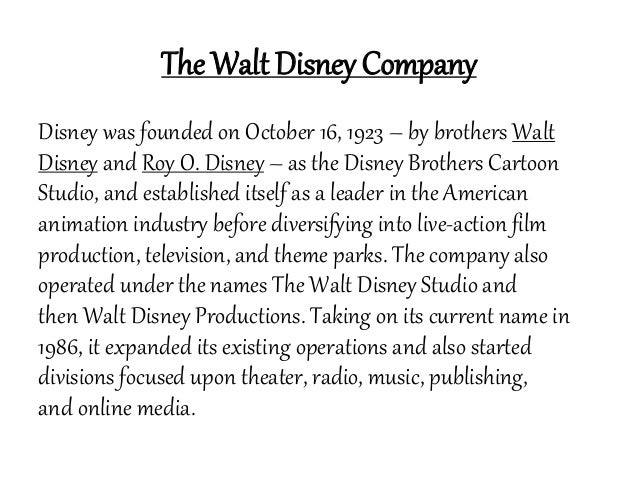 swot the walt disney company With the 21st century fox inc mega-deal just around the corner, it's worth a  closer look at what exactly walt disney co may be gaining.