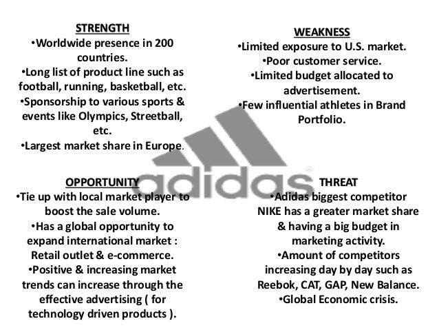 weakness of reebok Get an answer for 'what could a swot analysis for the company adidas look like' and find homework help for other business questions at enotes  reebok, rockport), including sports shoes.